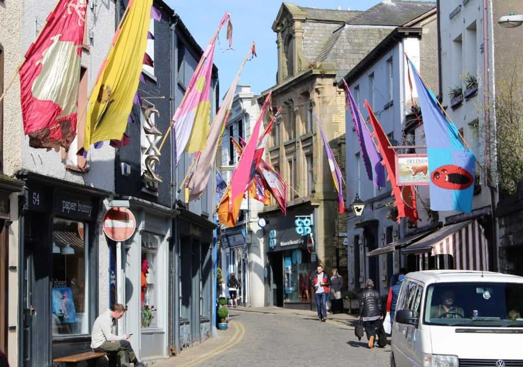 Flags on store fronts in Ulverston